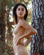 Pointy tits and skinny model wild in the forest